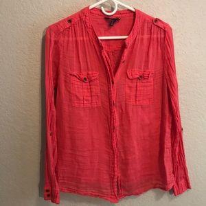 MNG fushia pink soft cotton button down blouse